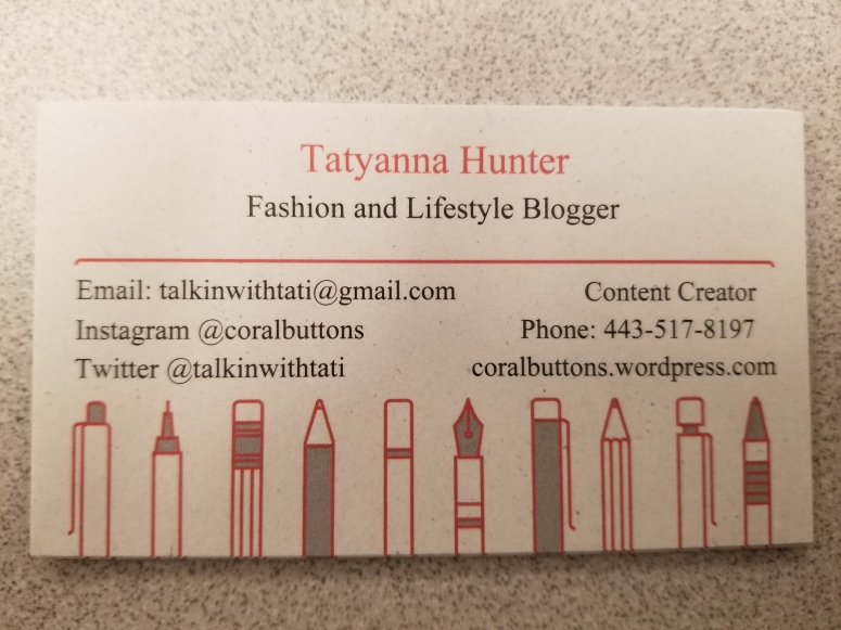 I have business cards coral buttons on my cards i wanted to showcase my writing background so i went with a writing utensil theme since coral is one of my favorite colors one of the reasons colourmoves